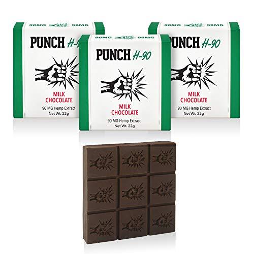 (PunchBar H-90 Organic Hemp Extract Milk Chocolate 90MG - Health Edibles for Anxiety, Pain, Stress, and Sleep Aid - No THC - 3 Pack)