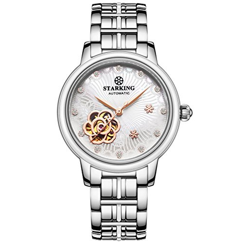 Ceramic Sapphire - STARKING Ceramic Watch Self Winding Automatic Sapphire AL0260 Mother of Pearl White Stainless Steel Band Luminous Hands
