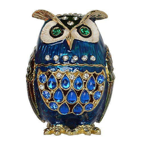 Enamelled Trinket Box (Hand Painted Enamelled Owl Trinket & Jewelry Box Sparkling Rhinestones Bird Figures Miniature Gifts for Lovers Ring HolderColor 1)