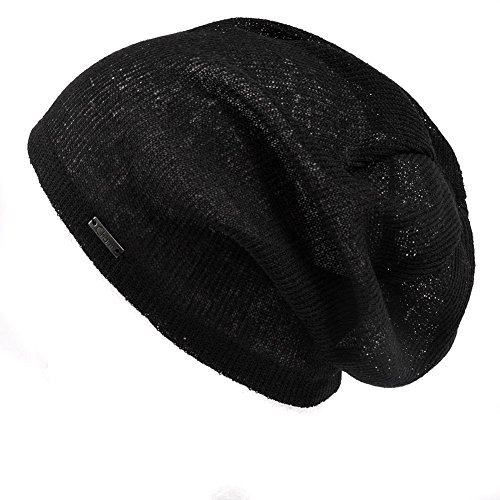 Casualbox Mens Light Weight Breathable Beanie Knit Hat Slouch Baggy Style Plain Color Black (Hats With Hair Attached)