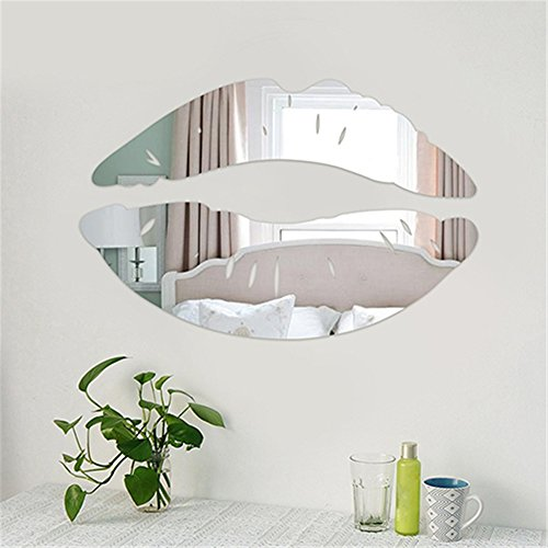 dds5391 Creative 3D Lip Shape Mirror Wall Stiker Fashion Home Living Room Art DIY Decor