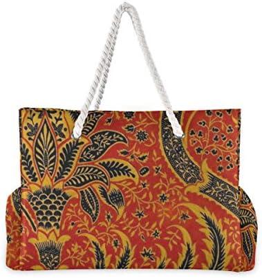 MORITAビーチバッグ プールバッグ トート 大容量 おしゃれ レディース 女の子 レジャー 大きい 大き目 でかい 水着 温泉 旅行 ポーチ 整理 旧式な織物 カーペット 赤い パターン