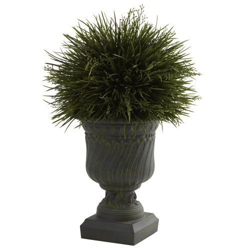 Nearly Natural 6744 Potted Grass with Indoor/Outdoor Decorative Urn, Green