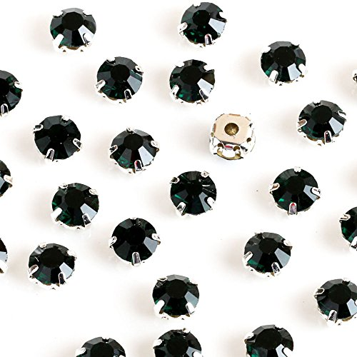Greatdeal68 3mm to 8mm Glass Rhinestone Sew-on silver settings with 4 holes Crystal/ Crystal AB/ Color (4mm 100pcs, Emerald)