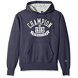 Champion Men's Heritage Fleece Pullover Hoodie, Anchor Slate/Shield Arch, Small