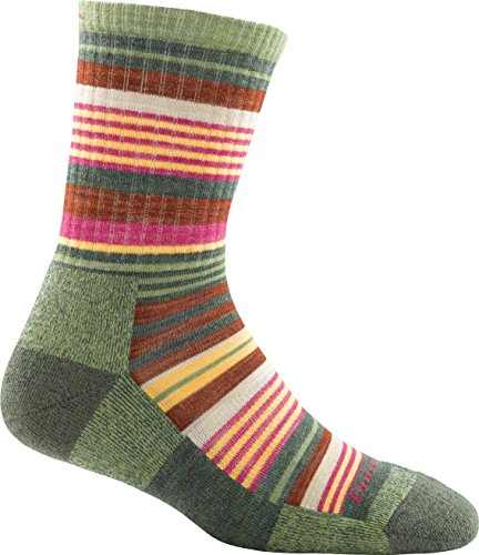 Darn Tough Socks Women's Light Hiker Sierra Stripe Micro Crew Moss L ()