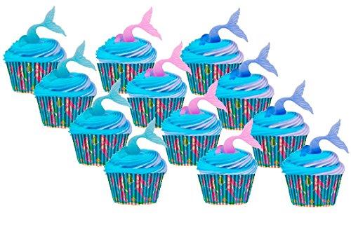 Beach Mermaid Cake/Food/Cupcake/Appetizer/Desert Decorating Topper Decorations (12 Picks & 12 Baking Cups)