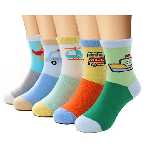 Bobo 5 Pack kids Boys Fashion Cotton and Soft Cute Breathable Socks