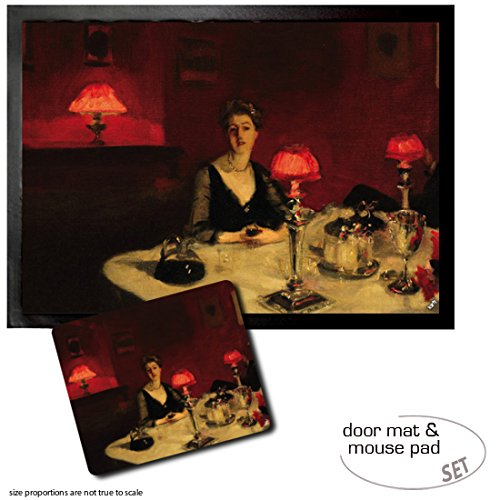 - Set: 1 Door Mat Floor Mat (28x20 inches) + 1 Mouse Pad (9x7 inches) - John Singer Sargent, Le Verre De Porto, A Dinner Table at Night, 1884