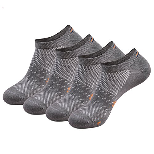 Vraquir 4 Pairs Men's Athletic Low Cut Socks Breathable Anti-odor Soft No Show Socks