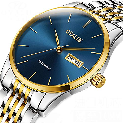 oof Mechanical Watches Chronograph Luxury Classic Rose Gold Wrist Watch Sport Dress Business Date Stainless Steel Watches,G ()