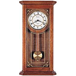 Bulova C3375 Solid Oak Case with Metal Dial Cirrus Wall Clock, 22, White