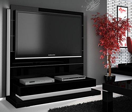TV Wand Paneel Element schwarz Hochglanz mit TV Halterung
