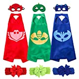 Cartoon Hero Masks Costumes Set of 3 Capes and Masks with Hair Bands For Kids