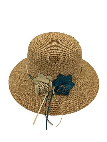 Ablaze Jin Ladies Sweet Flowers Dome Fisherman Basin Hat Holiday Beach Shade Straw Hats,Khaki (Myrtle Sc Beach Umbrella Beach)