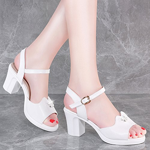 HGTYU-7Cm High-Heeled Sandals Fish The Dew Of Peace-Keeping Operations With The Princess Wild And In The Summer Slotted Women Shoes Champagne Color