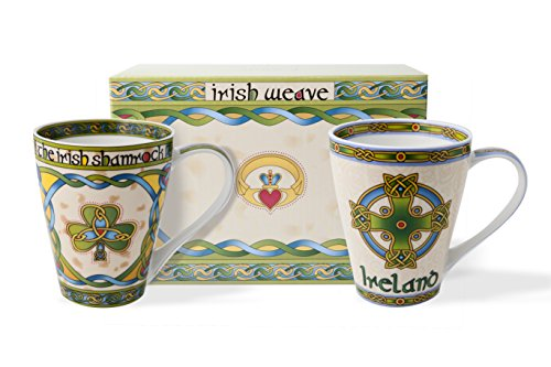 (Shamrock and Ireland Celtic Cup Set of Two with Matching Gift Box)