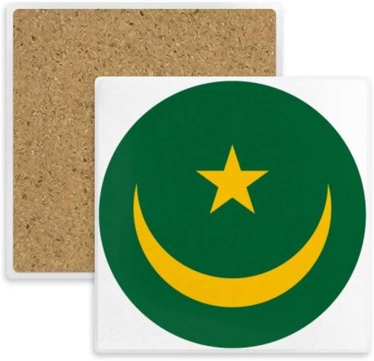 DIYthinker Coaster Mauritania áfrica Plaza Emblema Nacional Taza de la Taza Titular de Piedra Absorbente para Regalo Bebidas 2pcs