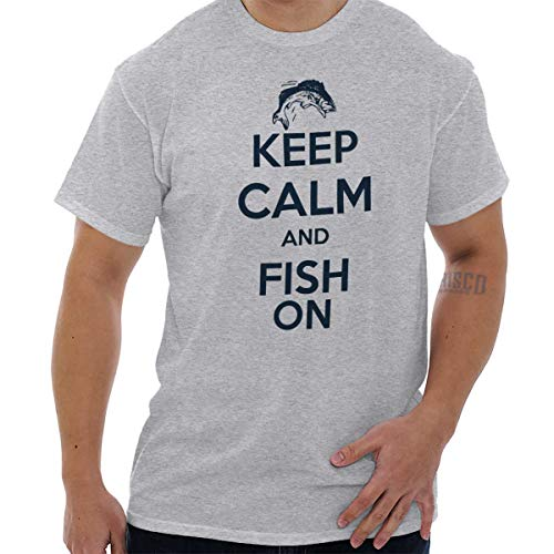 Brisco Brands Keep Calm and Fish Fishing Fisherman Gift T Shirt Tee Ash Grey