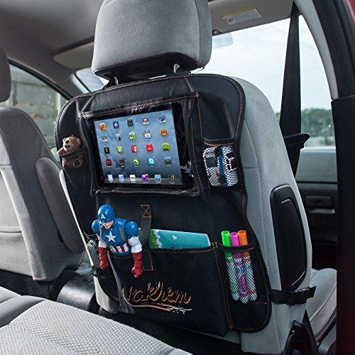 Car seat organizer for kids with Tablet Holder, Toy Pockets & Bottle Slots (Black)