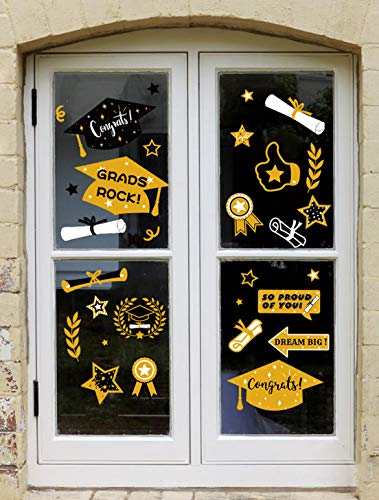 Geefuun 90PCS Graduation Window Clings Decorations 2019 - Grad Cap,Diploma, Star Party Decor Supplies]()
