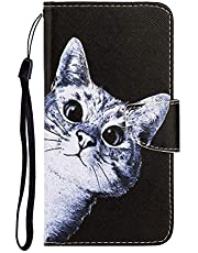 """Cfrau Flip Wallet Case with Black Stylus for iPhone 11,Premium Colorful Painted Magnetic Strap PU Leather Stand Card Slots Full Body Case for iPhone 11 6.1"""" 2019,Lovely Cat"""