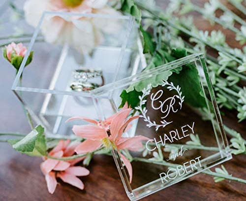 Clear Glass Look Acrylic Engagement Ring Bearer Box Holder, Custom Modern Wedding Rings Box, Geometric Minimalist or Rustic Ring Holder by Pink Posies & Pearls, LLC