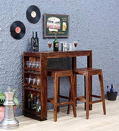 Ganpati Bar stools Set | Solid Wood Sheesham | Natural Finish | Size(Inch) L*B*H Table 45 * 18 * 42 Stools 18 * 18 * 30