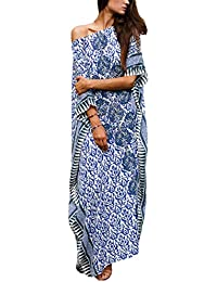 4356ea83d08 Women Bathing Suits Cover Up Ethnic Print Kaftan Beach Maxi Dress