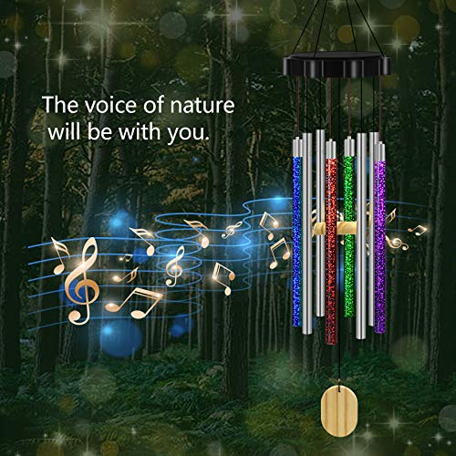 CREATIVE DESIGN Wind Chimes Outdoor, 28'' H Solar Wind Chimes Changing Colors Waterproof Wind Chimes for Garden Patio Balcony Home Decoration