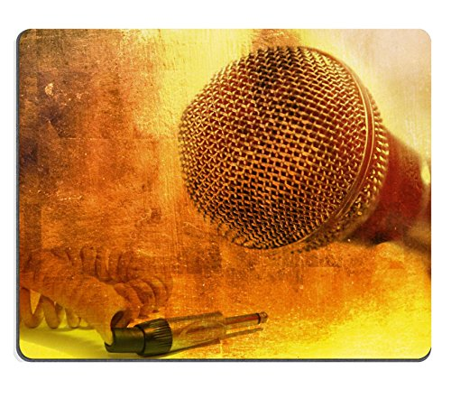 Dynamic Mobile Microphone (MSD Natural Rubber Gaming Mousepad Grunge music background with vintage dynamic microphone IMAGE 21034228)