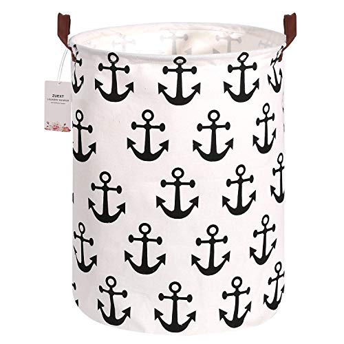 Collapsible Laundry Storage Basket Hamper 19.7 x 15.7 Inch, ZUEXT Large Storage Bin, Cotton Canvas Fabric Storage Basket, Round Gift Basket w/Handles for Toys, Laundry, Baby Nursery (Black Anchors)