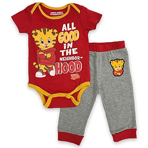 Daniel's Tiger Neighborhood Baby Boys All Good in The Hood Creeper Set, red, 9M ()