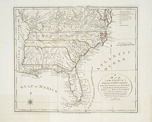 Historic 1792-01-25 Map | A map of the states of Virginia, North Carolina, South Carolina | Antique Vintage Map Reproduction - South Carolina Antiques