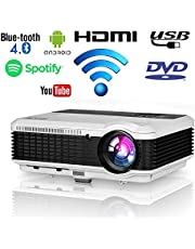 Wireless LED Home Movie Projector 2020 Updated LCD Smart Android Wifi Projector HD Support 1080P Airplay with HDMI USB VGA AV RCA Audio Zoom for Indoor Outdoor Movie Theater Laptop TV Phone Video Game