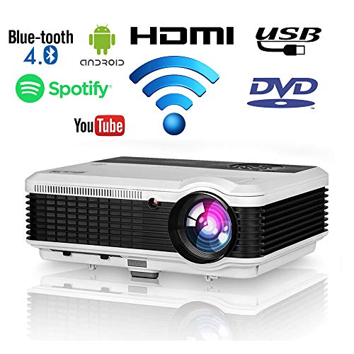 HD Movie Projector Home Theater Outdoor Wifi Bluetooth LED 4600 Lumens Android Wireless Video Projector WXGA 1080P Support Zoom HDMI USB VGA Audio AV RCA for iPad Smartphone DVD PS4 TV Box PC Laptop