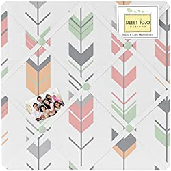 Sweet Jojo Designs Grey, Coral and Mint Woodland Arrow Fabric Memory/Memo Photo Bulletin Board