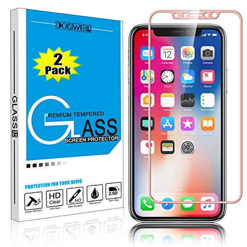 DONWELL [ 2 Pack ] iPhone 11 Pro/iPhone Xs Screen Protector, Tempered Glass Full Coverage Edge Anti-Scratch Protective Cover Compatible with iPhone X/iPhone Xs/iPhone 11 Pro 5.8 inch (Rose Gold)