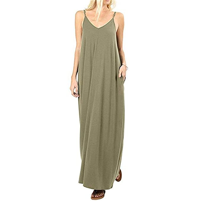 56f9e756d9f3 erholi Women Fashion V Neck Spaghetti Strap Solid Maxi Dress Dresses Army  Green