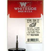Whiteside Router Bits RD1600 Standard Spiral Bit with Down Cut Solid Carbide 1/8-Inch Cutting Diameter and 1/2-Inch Cutting Length