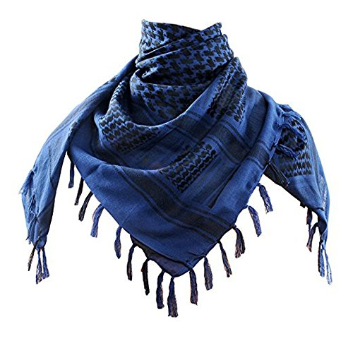 100% Cotton Military Shemagh Arab Scarf Tactical Desert Keffiyeh Thickened Scarf Wrap (1 PCS, Blue)