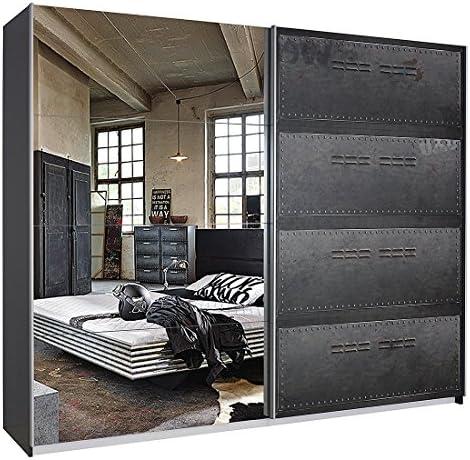 Armario de puertas correderas work base - Industrial Print óptica/grafito - sin iluminación - 136 cm (2-puertas), humo Select: Amazon.es: Hogar