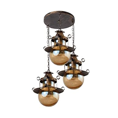 LeArc Designer Lighting Wrought Iron Rustic Finish Pendent HL3849-3 Pendant Lights at amazon