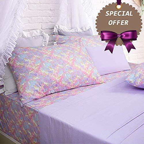 (Brandream Pink Lavender Unicorn Bedding Sets Queen Size Girls Unicorn Sheets 100% Cotton Bed Sheet Set Deep Pocket 18 Inch(1 Top Sheet + 1 Fitted Sheet + 2 Pillowcases))