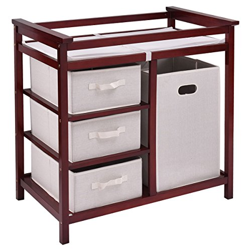 New MTN-G Cherry Infant Baby Changing Table w/3 Basket Hamper Diaper Storage Nursery by MTN-Gearsmith