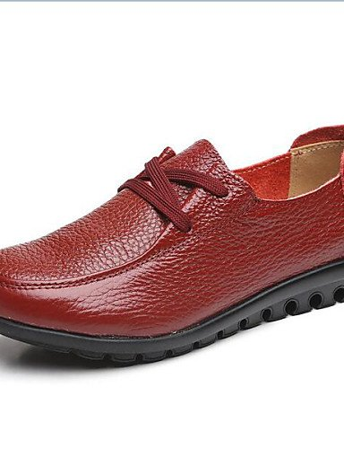 Rojo Negro Punta Comfort us6 Uk4 Redonda Red Leather Tacón Eu39 Eu36 Uk6 Brown Cn39 Nappa Njx Oxfords Casual Marrón us8 Cn36 2016 De Plano Mujer Zapatos 0ffqOZ