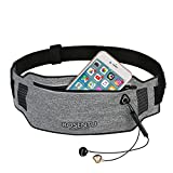 Eluck Running Belt, Water Resistant Waist Bag for iPhone X/7/8/8 Plus, Waist Packs for Women/Men, Fitness Running Holder Gear Bags with Built-in Two Pockets for Cycling Climbing & Workout(Black)