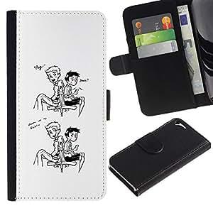 All Phone Most Case / Oferta Especial Cáscara Funda de cuero Monedero Cubierta de proteccion Caso / Wallet Case for Apple Iphone 5 / 5S // Hello friend