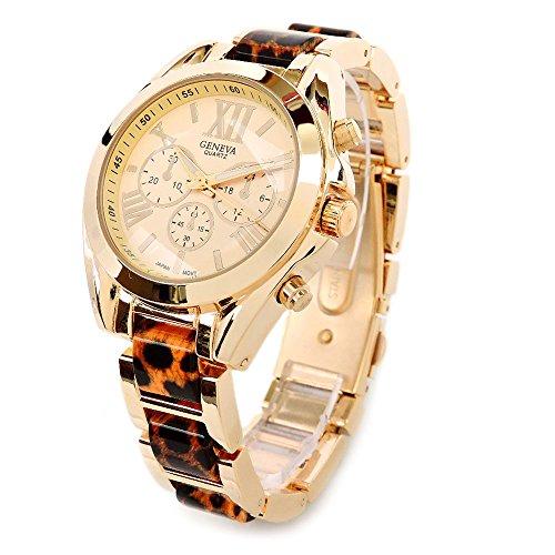 (Leopard Gold Boyfriend Style Medium Size Roman Hours Geneva Fashion Women's Watch)