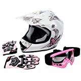 Tengchang Dot Youth & Kids Motocross Offroad Street Helmet Pink Butterfly Motorcycle Helmet+Goggles+gloves S